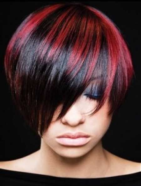 Colored-Short-Hairstyle-With-Long-Side-Bangs