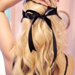 long wavy blonde hair  - beach waves - black bow