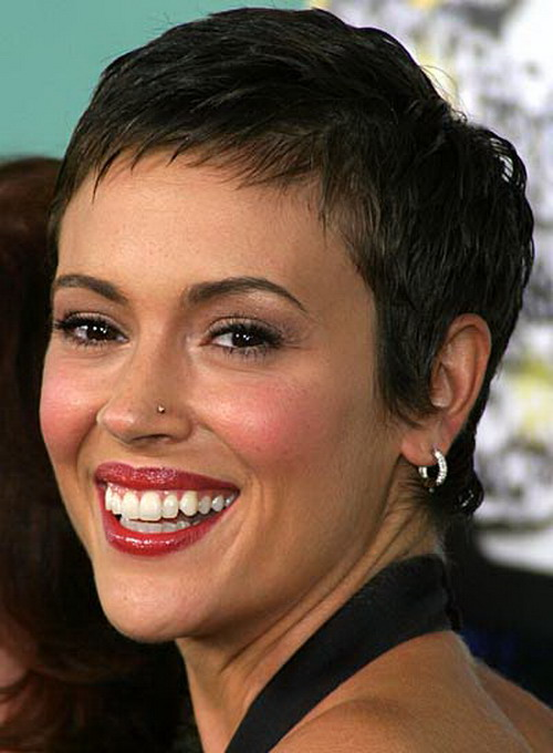 Actress ALYSSA MILANO at the Dickie Roberts Former Child Star Premiere at the Cinerama Dome theatre in Hollywood. Pixie-Short-Hairstyles-for-Wavy-Hair-2014