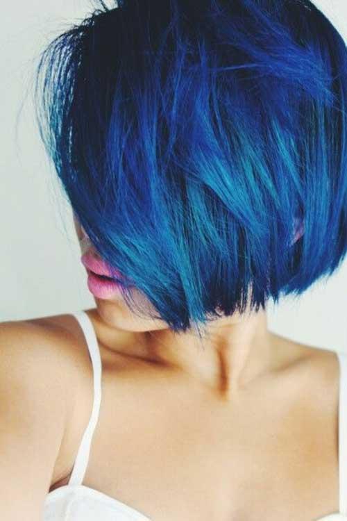 Taglio di capelli corti e colore Blue-Bob-Haircut