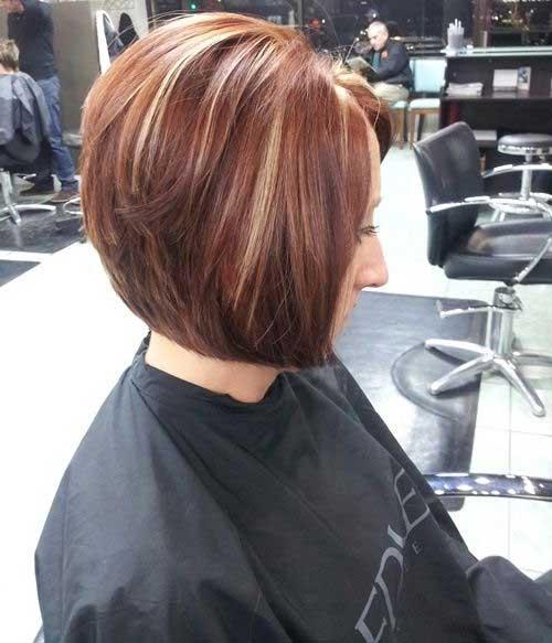 Taglio di capelli corti e colore Chestnut-Stacked-Bob