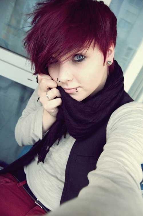 Taglio di capelli corti e colore Pretty-Red-Pixie