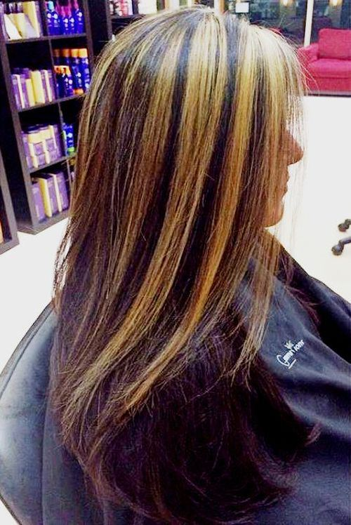 Colpi di sole su capelli castani lisci