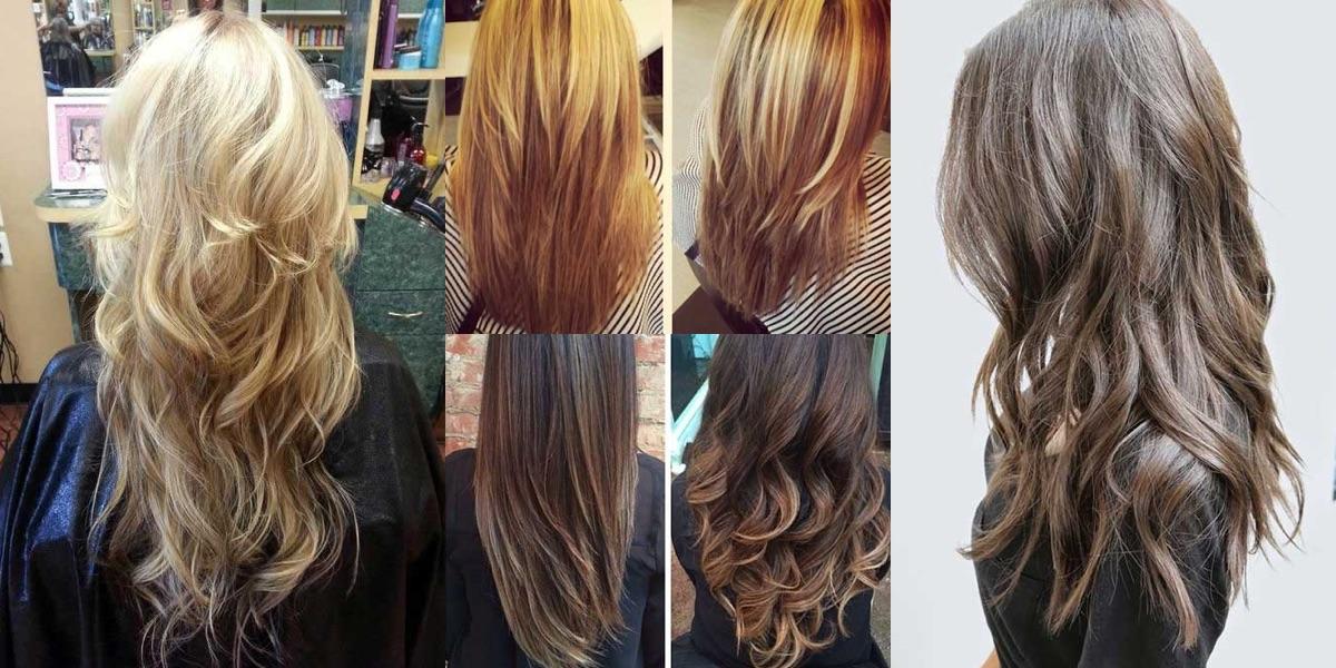 Taglio scalato sui capelli lunghi