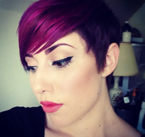 Cool-Short-Haircut-with-Purple-Hair-Color