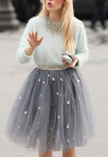 Grey-jeweled-tulle-skirt-and-sweater