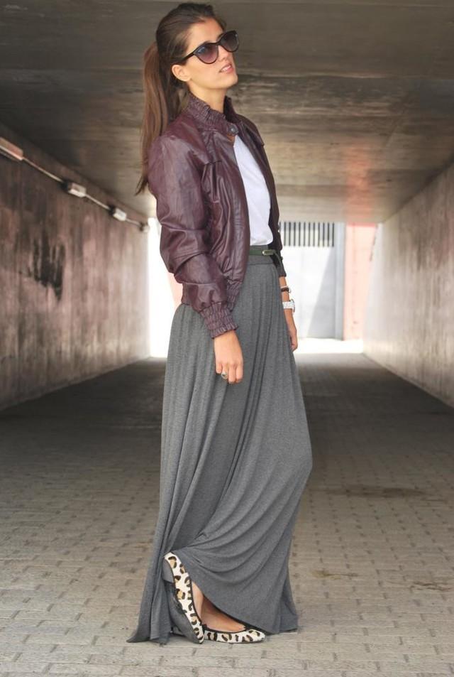 Grey-maxi-shirt-and-leather-jacket