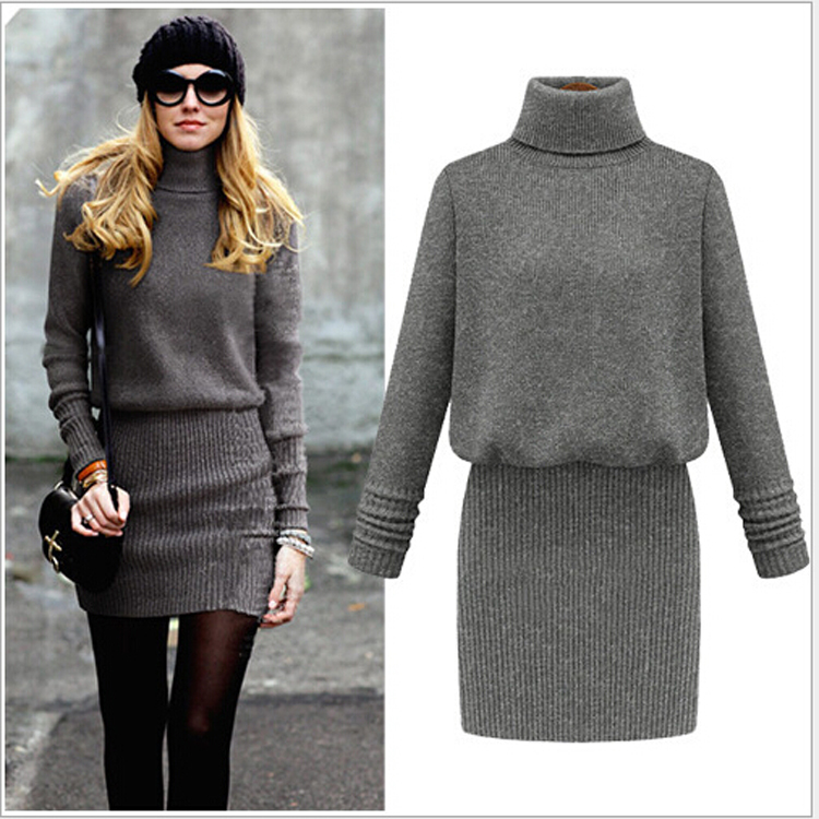 Grey-turtleneck-dress