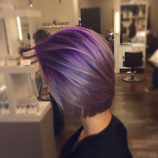 Tagli capelli medi viola