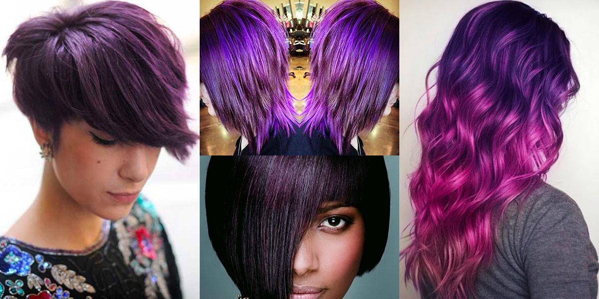 Capelli corti color viola