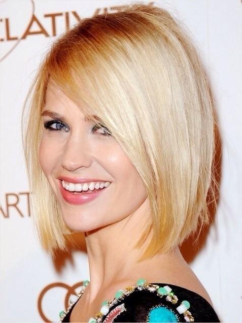 Blunt-Short-Bob-Haircuts-for-Long-Face-January-Jones-Blonde-Hair