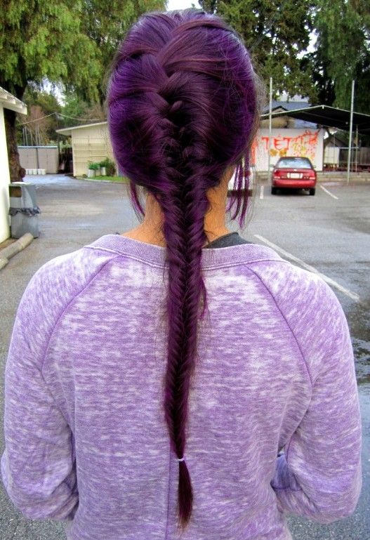 French-Braid-Purple-Hairstyle