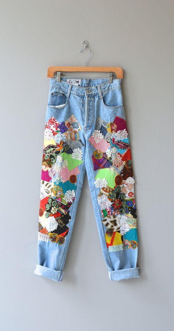 patchwork jeans trend