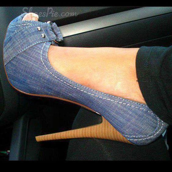 Womens Denim Open Toe Shoes