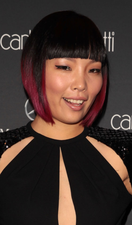 Bob-With-Blunt-Bangs-And-Red-Highlights Bob-With-Blunt-Bangs-And-Red-Highlights