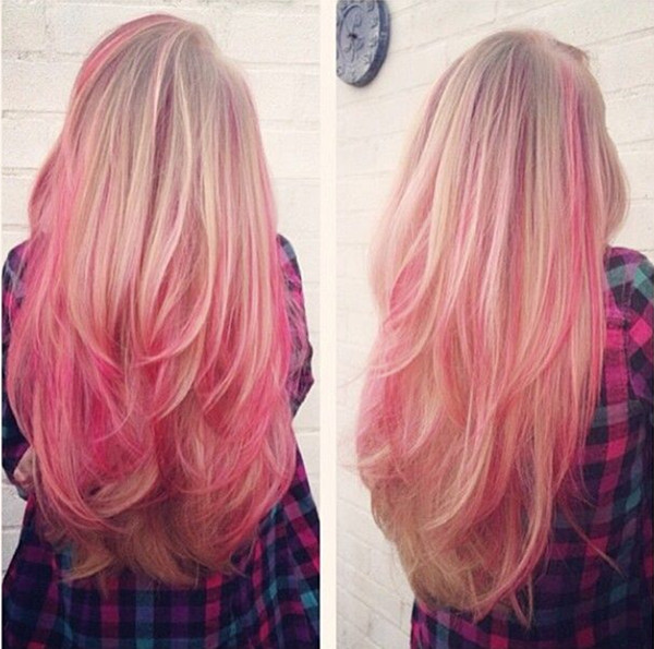 Candy-pink-ombre-hair-color-with-highlight-for-blonde-hair-girls-so-cute-and-nice