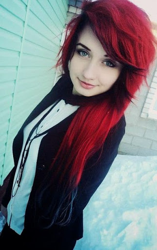 Cute Dark Red With Navy Blue dipped hair color style
