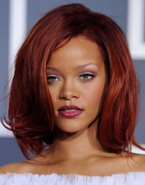 Rihanna-Medium-Red-Bob-Hairstyles