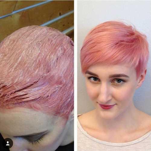 Capelli corti rosa pastello