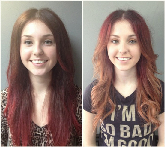 sweet-and-easy-wavy-brown-to-red-ombre-hairstyles