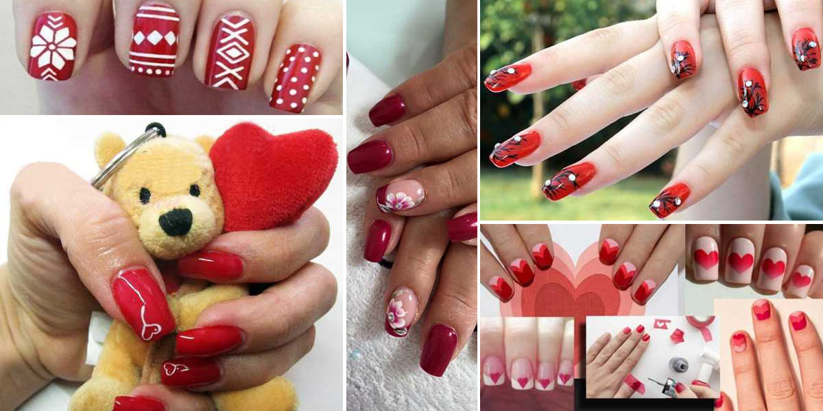 unghie rosse decorate