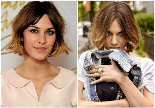 Alexa-Chung-brown-and-blonde-ombre-color-for-short-hair