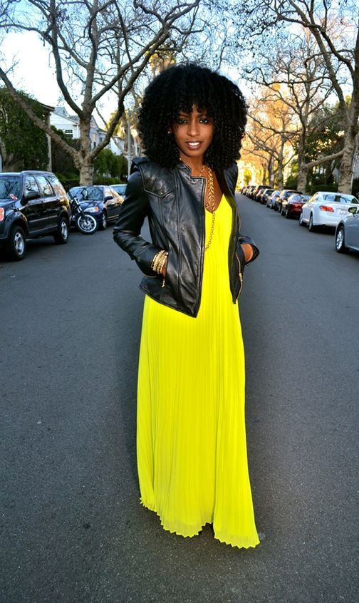 Leather-Moto-Jacket-with-Pleated-Neon-Maxi-Dress