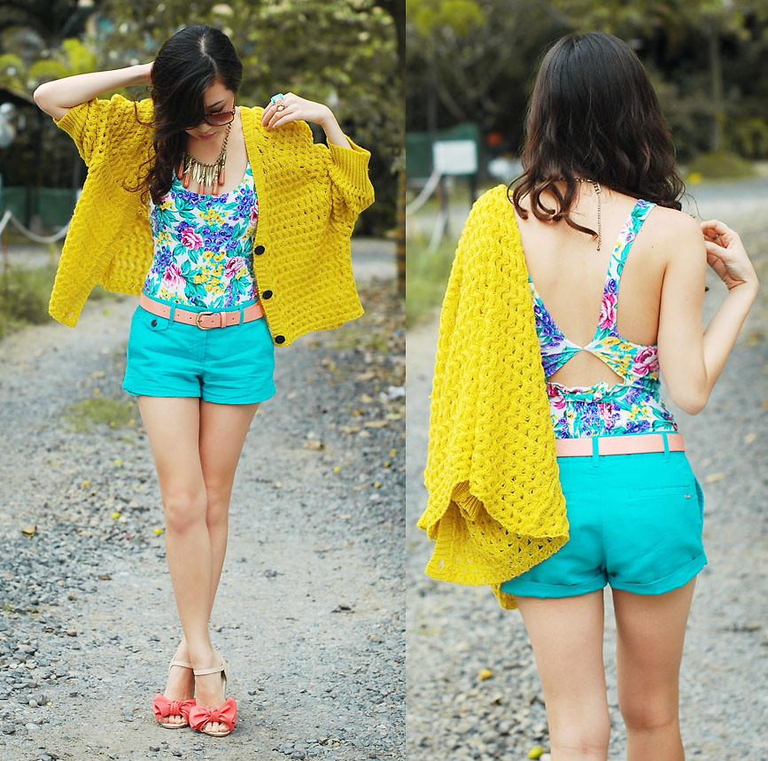 Yellow-Cardigan-Mango-Aqua-Shorts