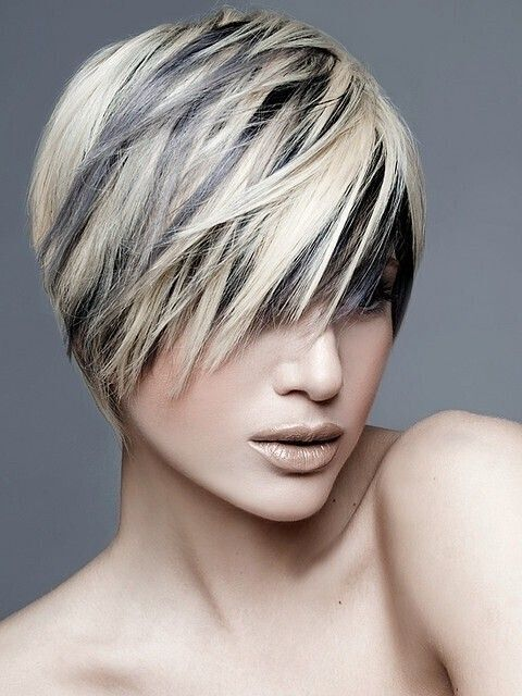 Black-Hair-with-Blonde-Highlights-Stylish-Short-Haircut