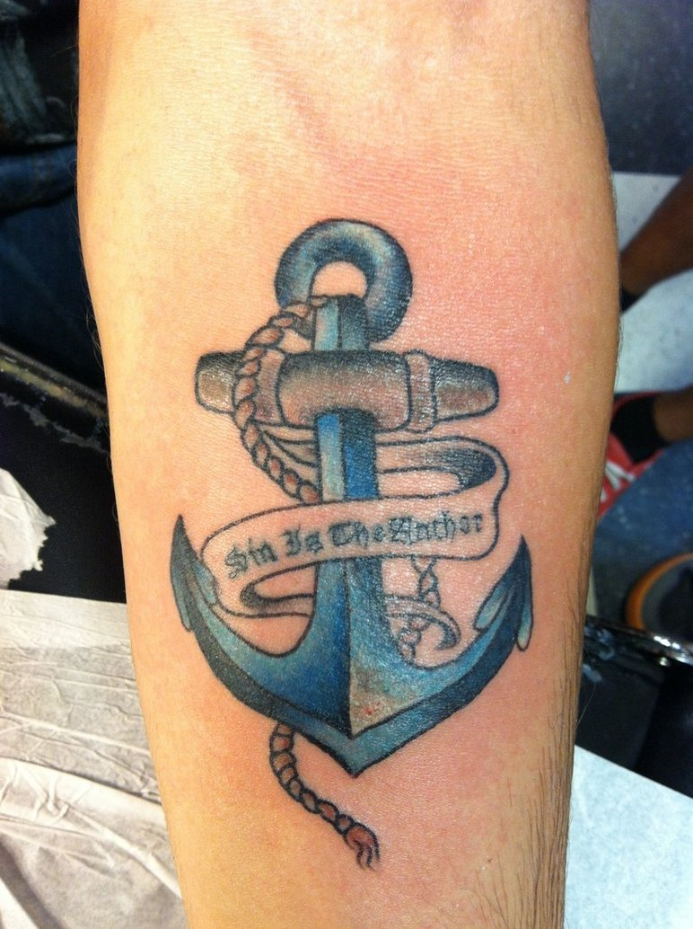 blue-ink-anchor-with-banner-tattoo-on-arm