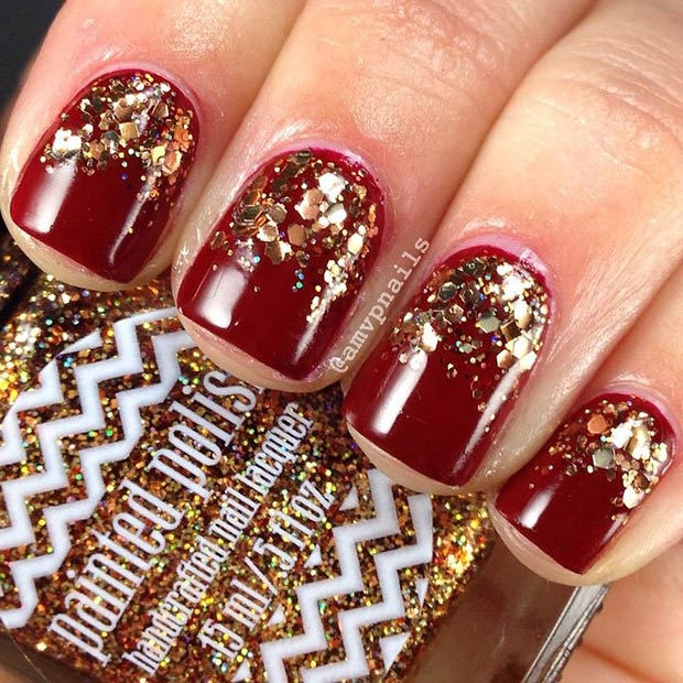 23-dark-red-nails-gold-glitter