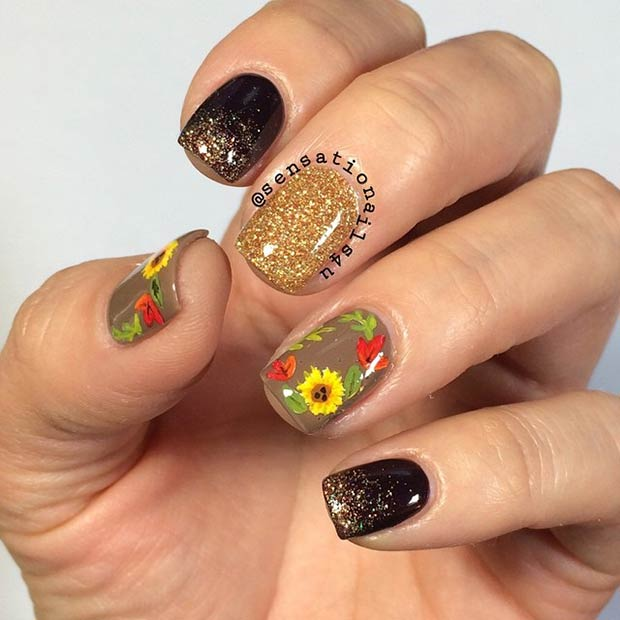 9-sunflower-nail-design