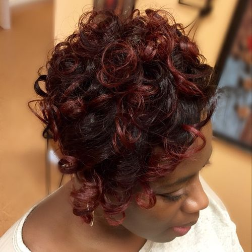 8-short-curly-black-hairstyle-with-burgundy-highlights