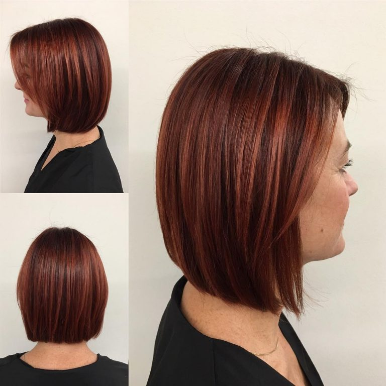 hair styles for medium straight hair 30 tagli di capelli medi per sistemare la vostra chioma folta 5020 | Classic Shoulder Lenght Bob With Red Highlights 768x768