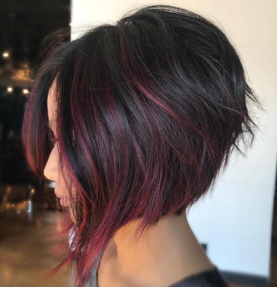 Balayage capelli corti neri