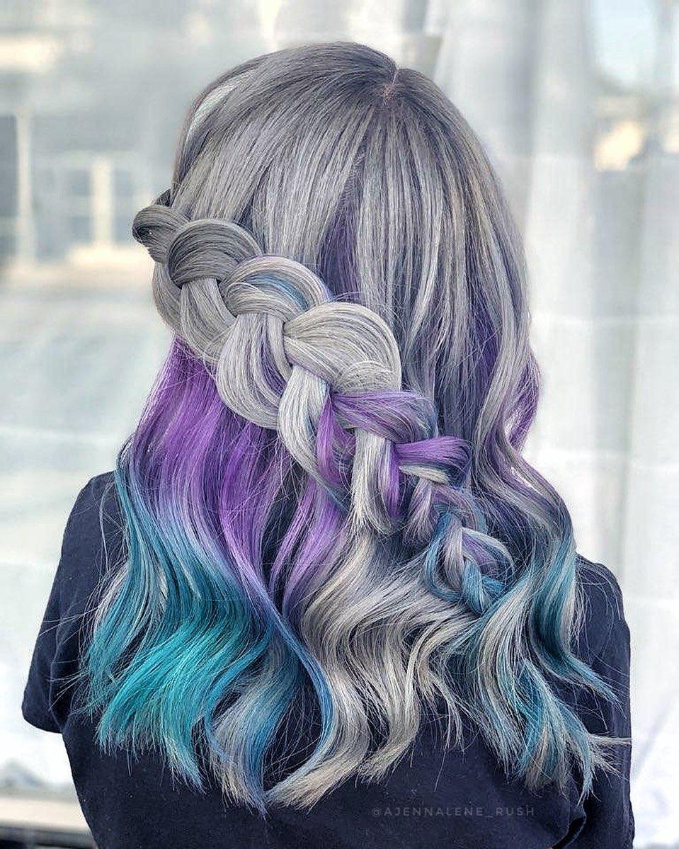 grigi viola mossi lunghi treccia