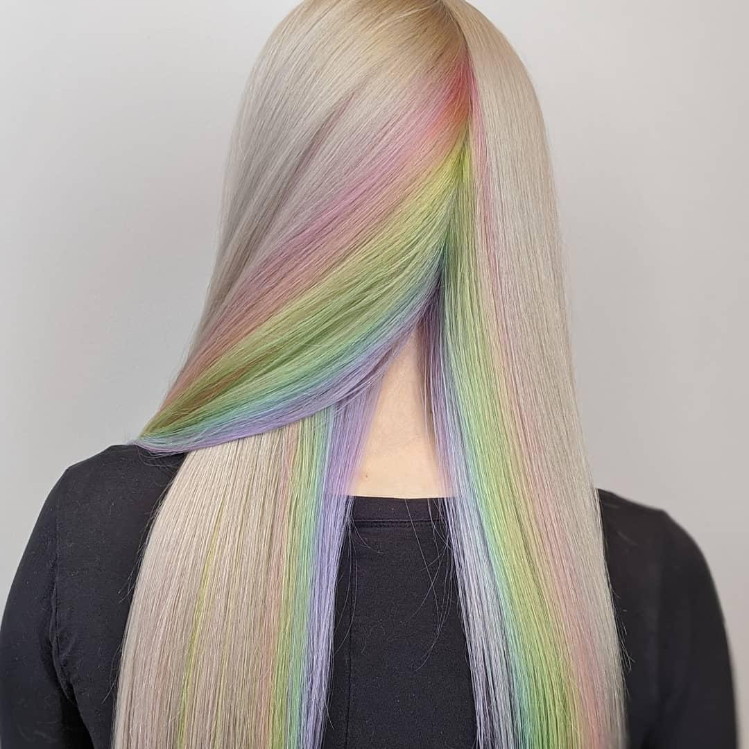 lisci biondi lunghi multicolore