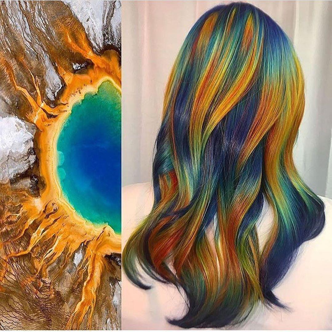 arte capelli arancio blu