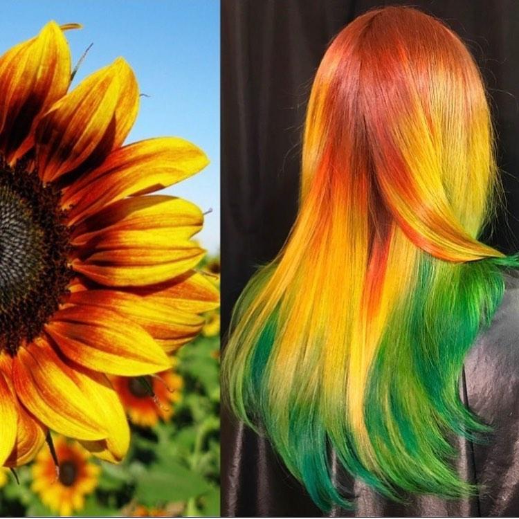 arte capelli verdi gialli