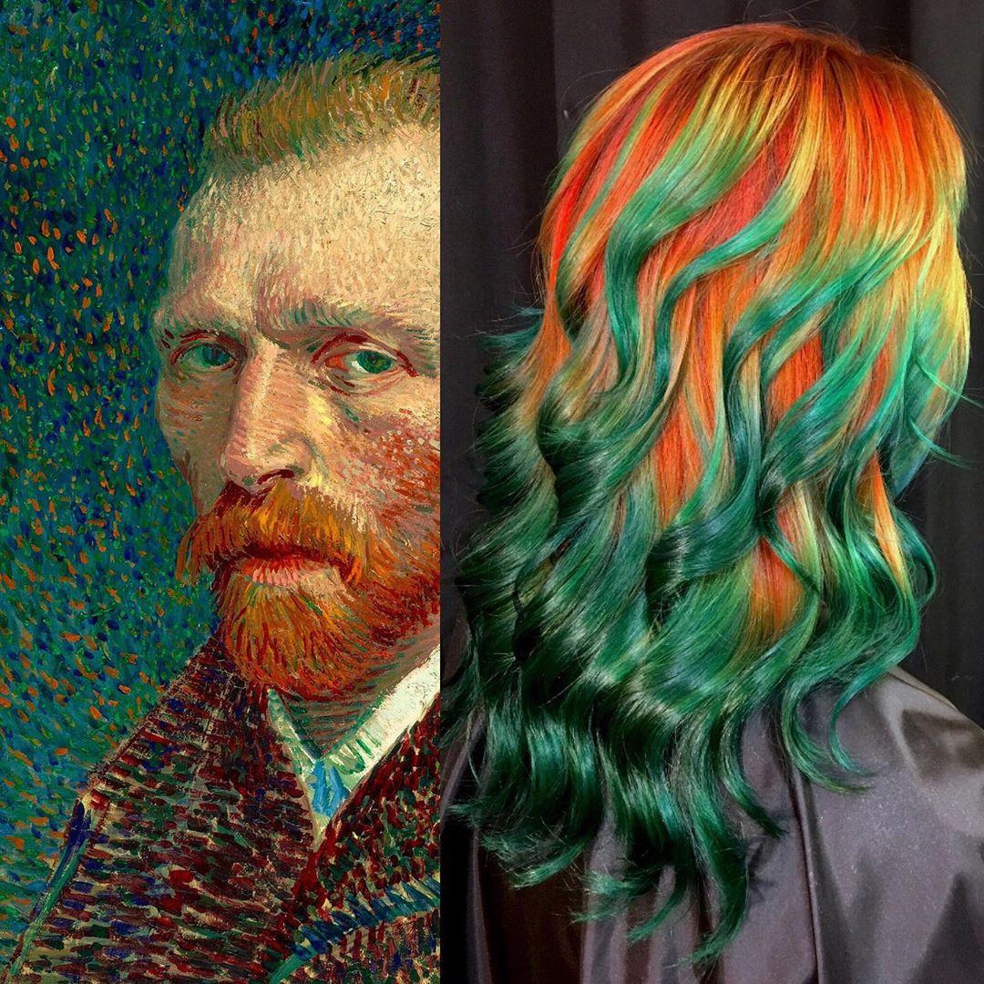 arte capelli verde