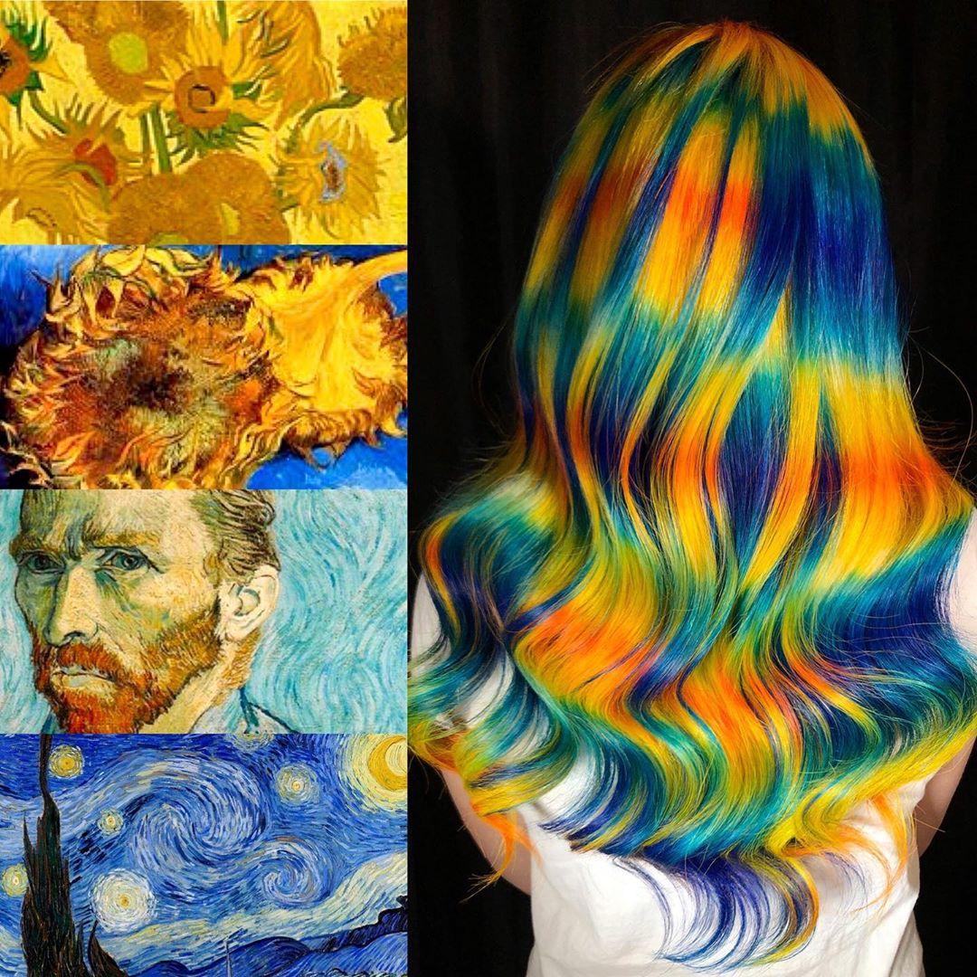 arte capelli giallo blu