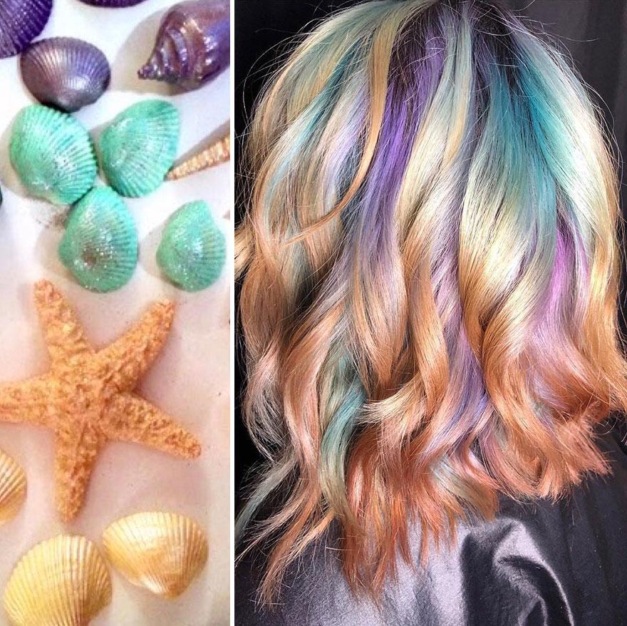 arte capelli rosa azzurri