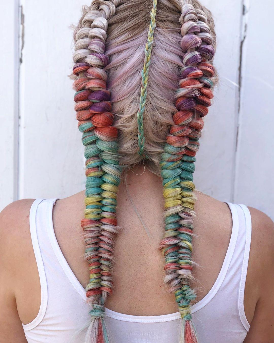 trecce multicolore