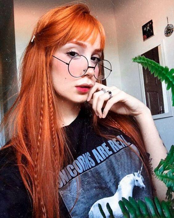 lisci frangia lunghi arancioni